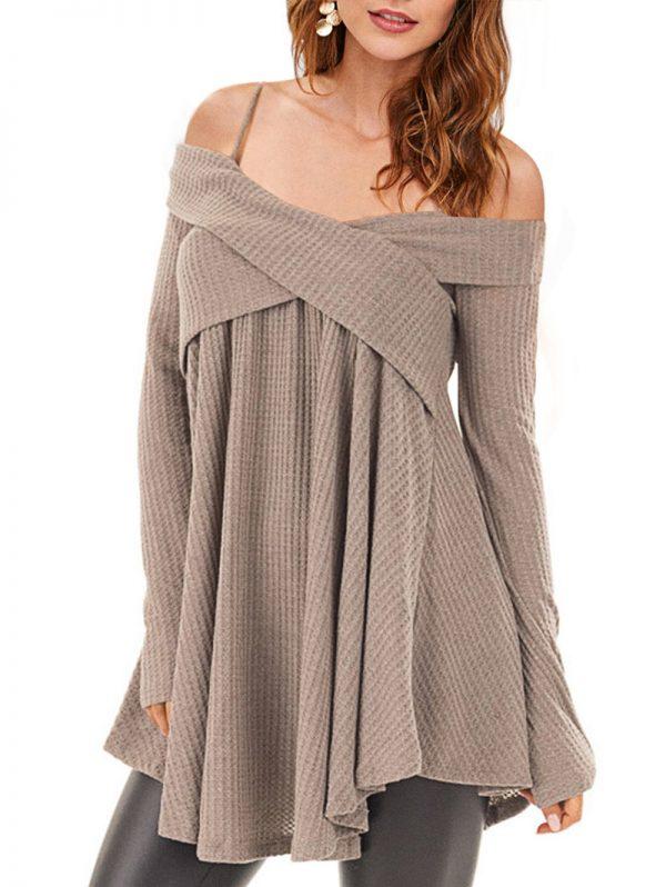 Crisscross Open Shoulder Tunic Sweater