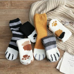 Cute Cat Claw Plush Warm Socks