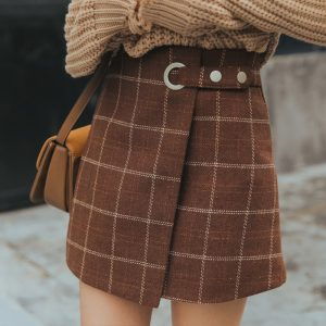 Woolen Vintage Plaid Skirt