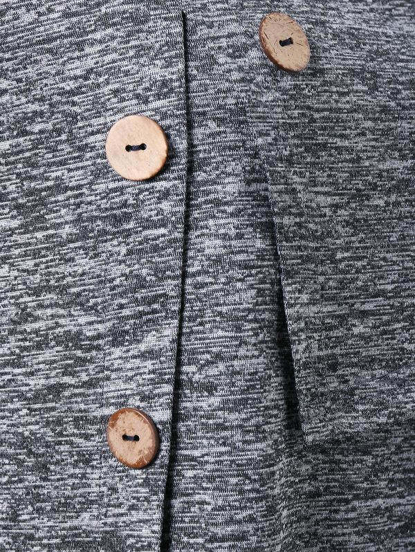 Long Sleeve Marled Button Capelet T-shirt